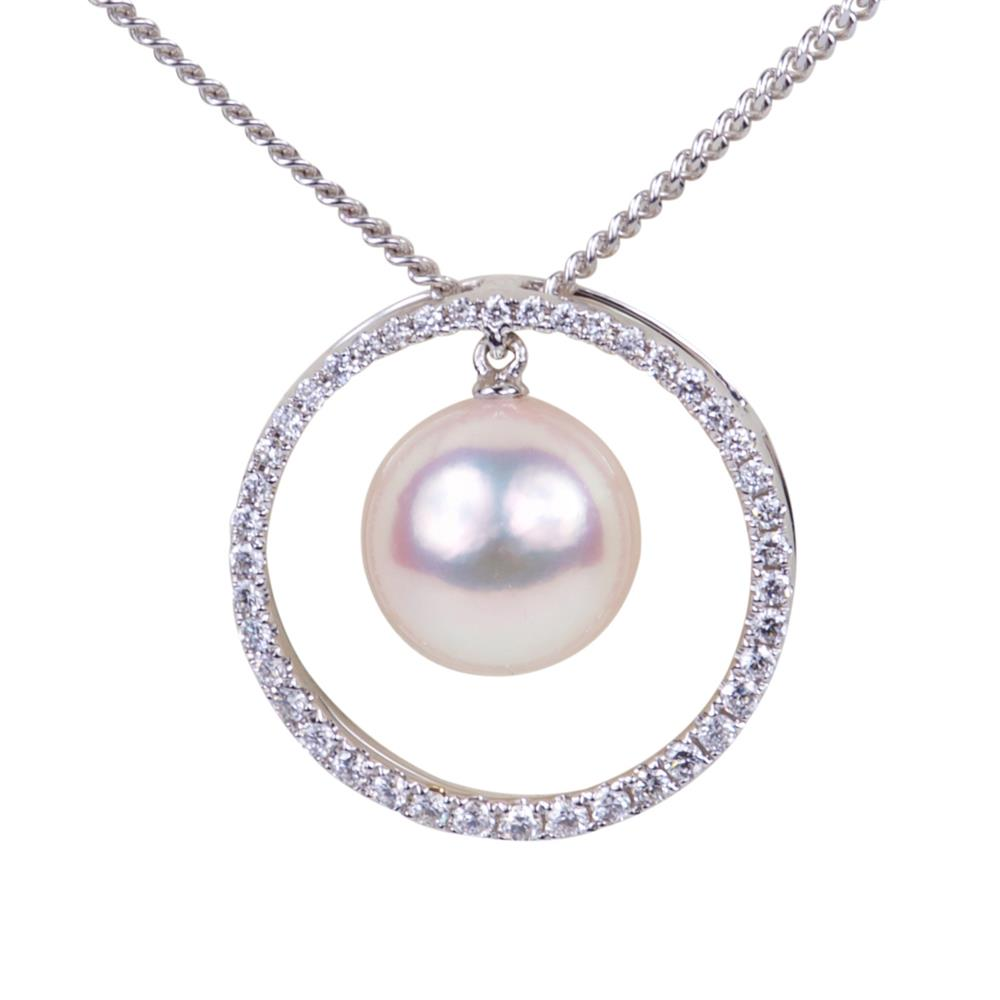 "Preview of PA014 - 18ct White Gold Akoys Pearl 8x8.5mm Diamond Surround 0.20cts Pendant  18"" White Gold Curb Chain"